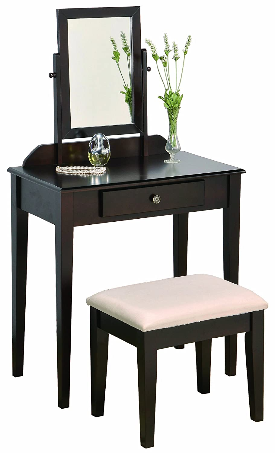 Elegant Amazon.com: Crown Mark Iris Vanity Table/Stool, Espresso Finish With Beige  Seat: Kitchen U0026 Dining