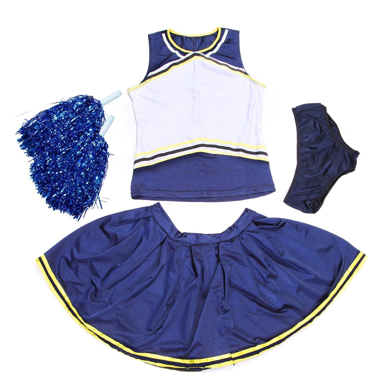 Cheerleader-Uniform, personalisierbar mit Logo-Druck vorne, Cheerleader-Kostüm, mit Slip und Pompons, blau + gelb Cheerleader-Kostü m maboobie UK_LG42024