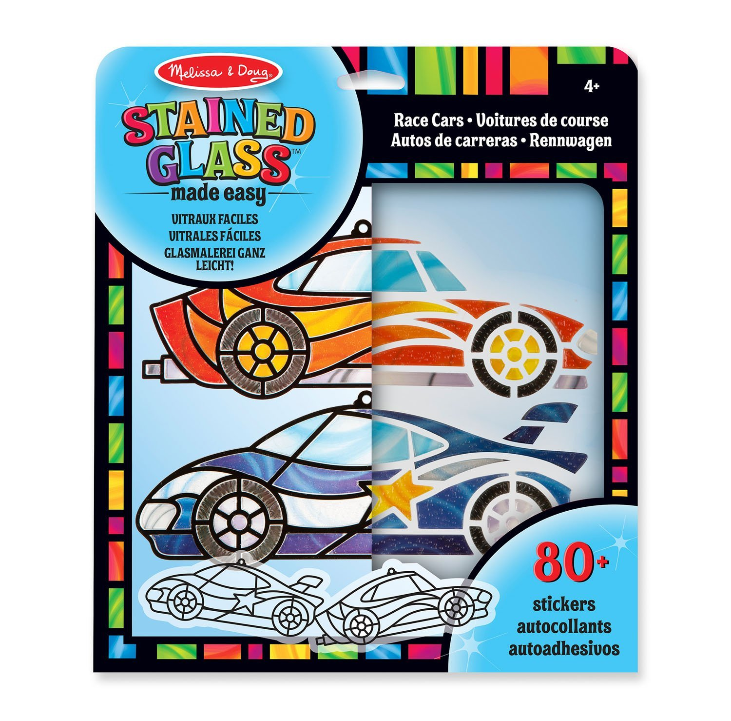 Melissa & Doug Stained Glass Made Easy Race Car Ornaments Craft Kit (Makes 2 Ornaments) 19293