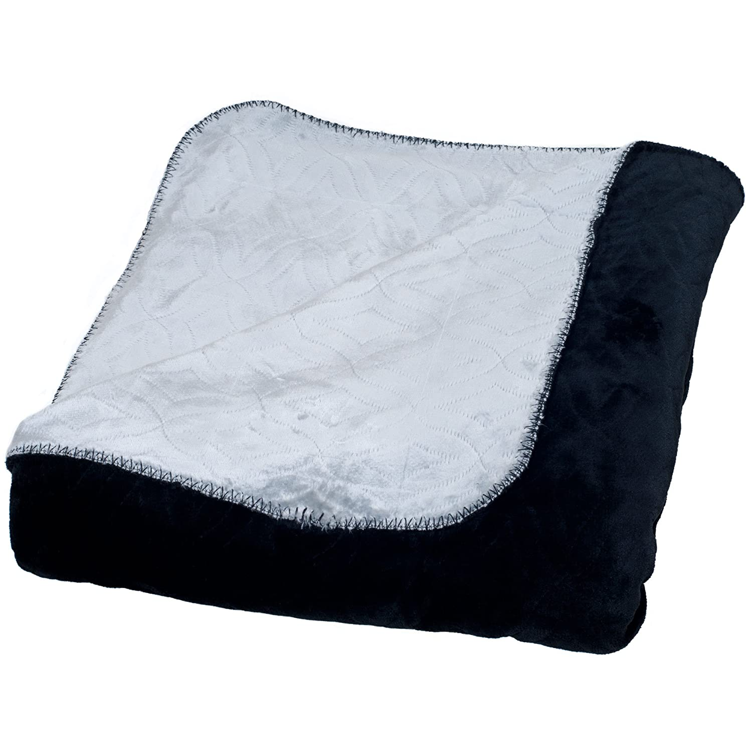 Lavish Home Super Warm Flannel-Like Reversible Blanket, Full/Queen, Blue/Grey 61-80-FQ-BLG
