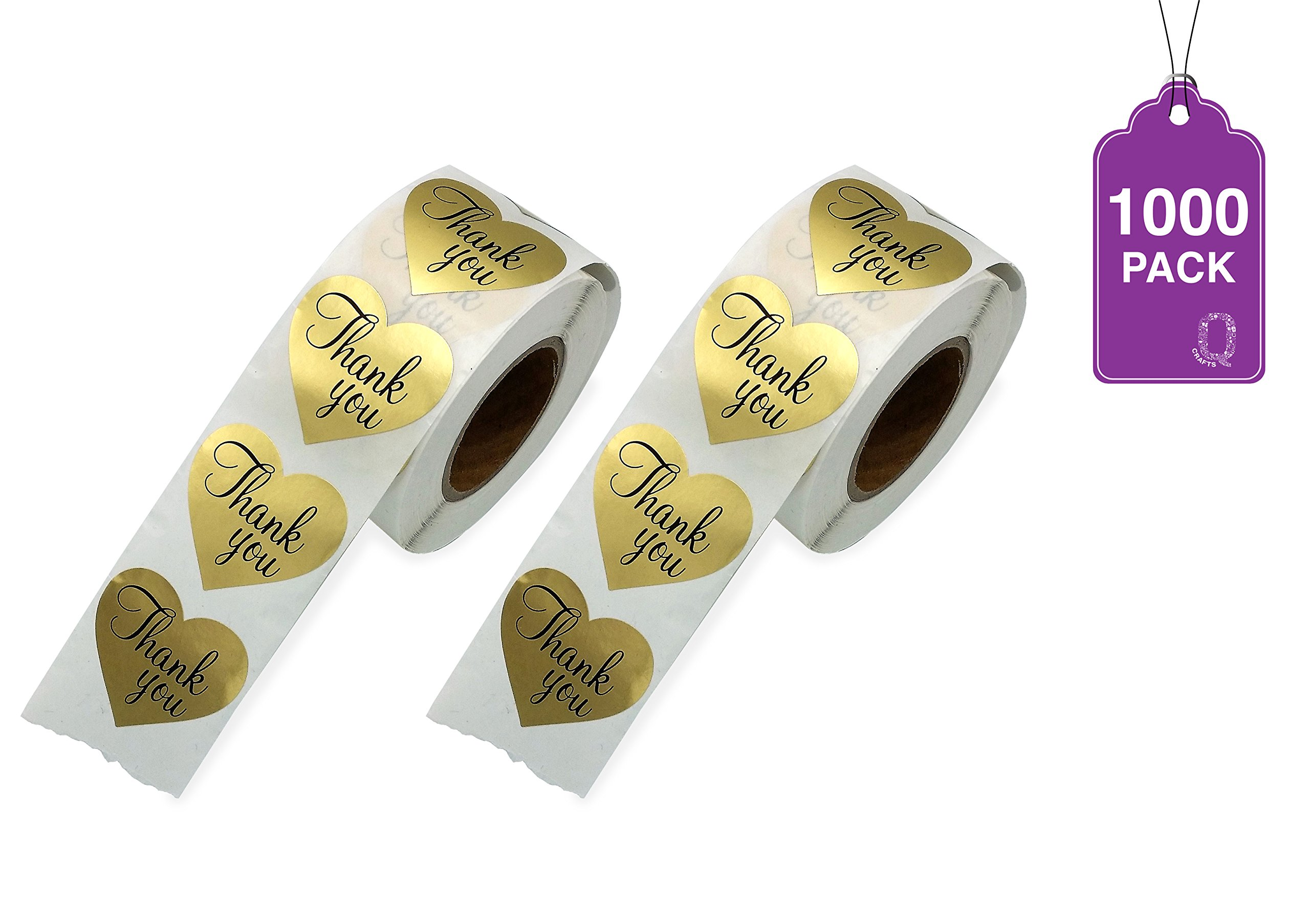 Thank You Stickers Gold Heart Shaped Foil Easy-Pull Adhesive Foil Labels (1000)