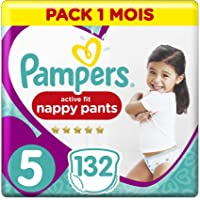 Pampers - Active Fit Pants - Couches-culottes Taille 5 (12-17 kg) - Pack 1 Mois (x132 culottes)