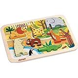 Janod - Chunky, Puzzle para encajar animales de zoo (J07022)
