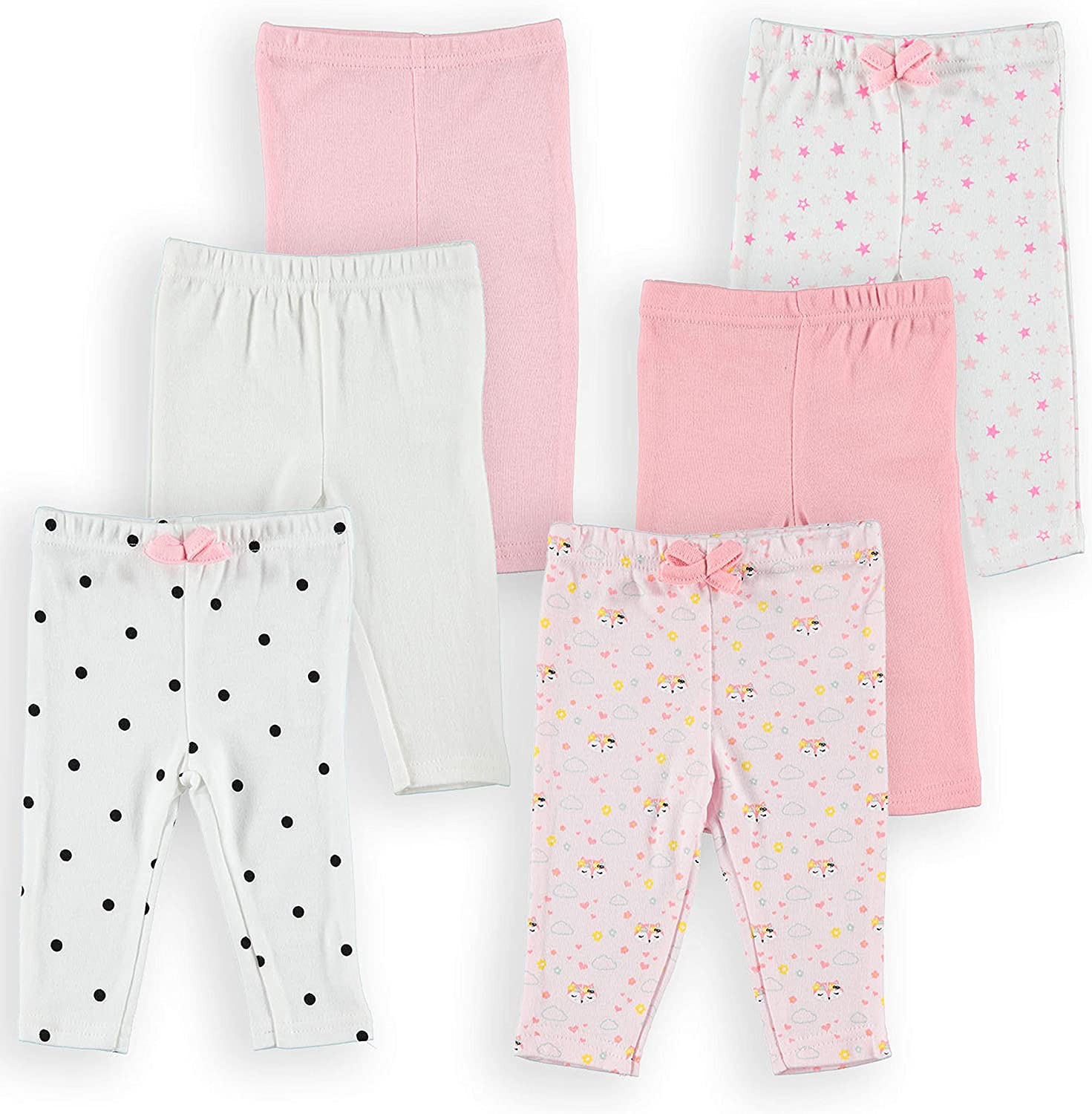 Baby Set of 6 Leggings Funny Bunny 6 Pack Newborn Pants Baby Boys Girls Ultra Soft 100/% Cotton Solid and Printed Pants