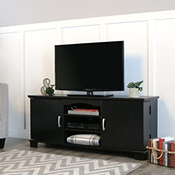 Amazon Com Walker Edison 60 Wood Storage Tv Stand Console Black