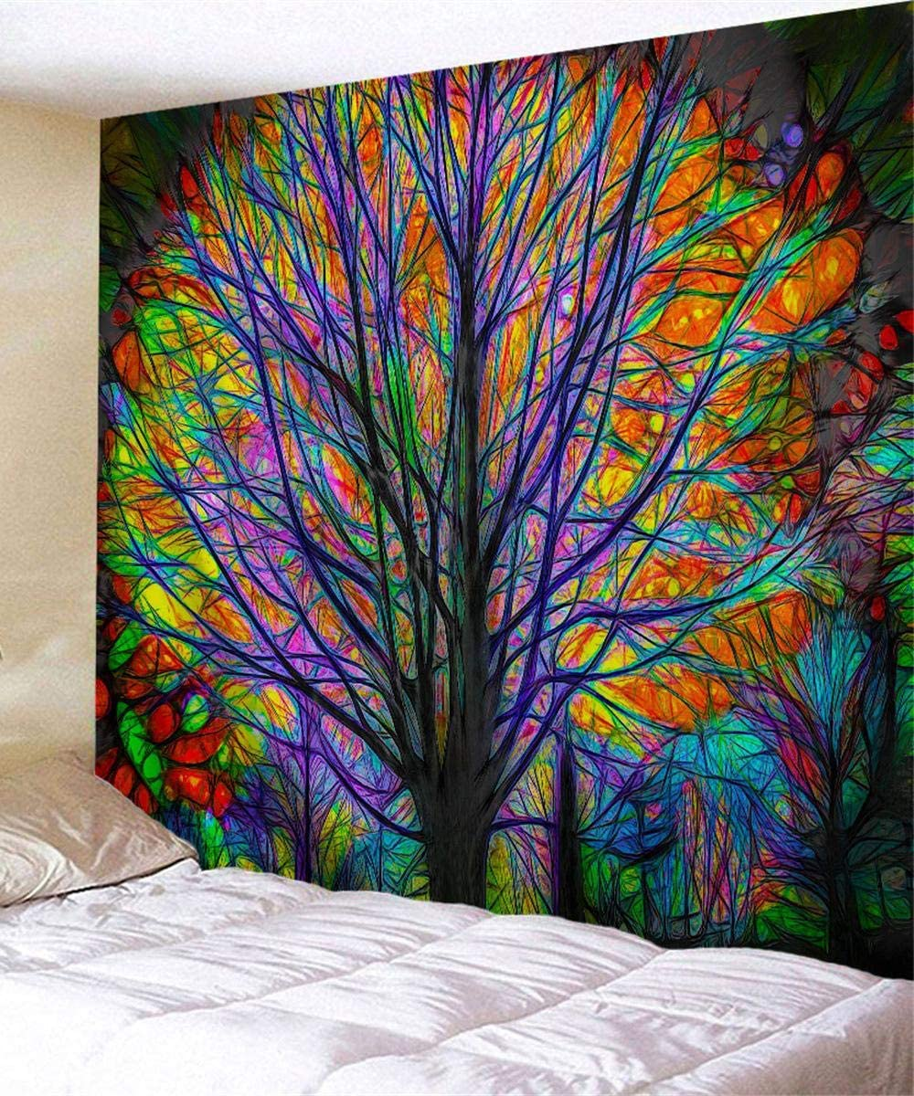 Psychedelic Tapestry Colorful Tree Wall Hanging Trippy Room Decor Forest Tapestries Tapestry for Bedroom Living Room Dorm Included 60 w 51 h 80 w 60 h 71 w90 h