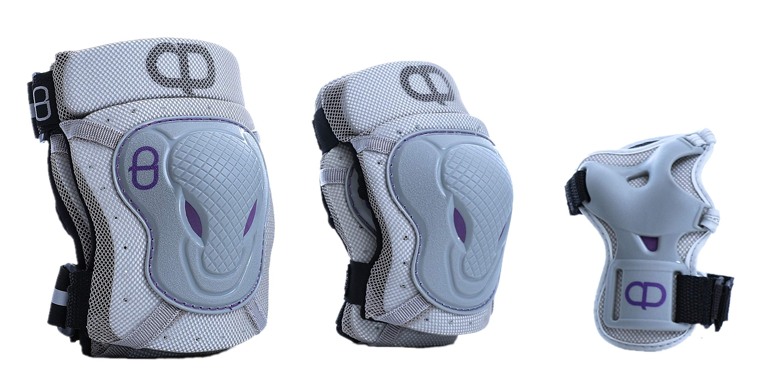 DA Deluxe Armour Teen/Adult Knee & Elbow pad with Wrist Guard (Gray, Medium)