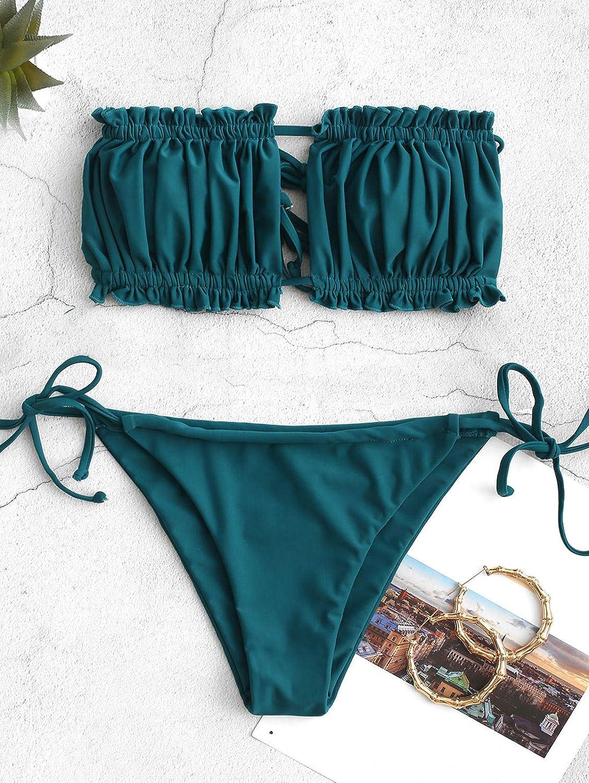 Fascia Senza Spalline con Coulisse e Costumi da Bagno in Tinta Unita con Rouches ZAFUL Set Bikini da Donna