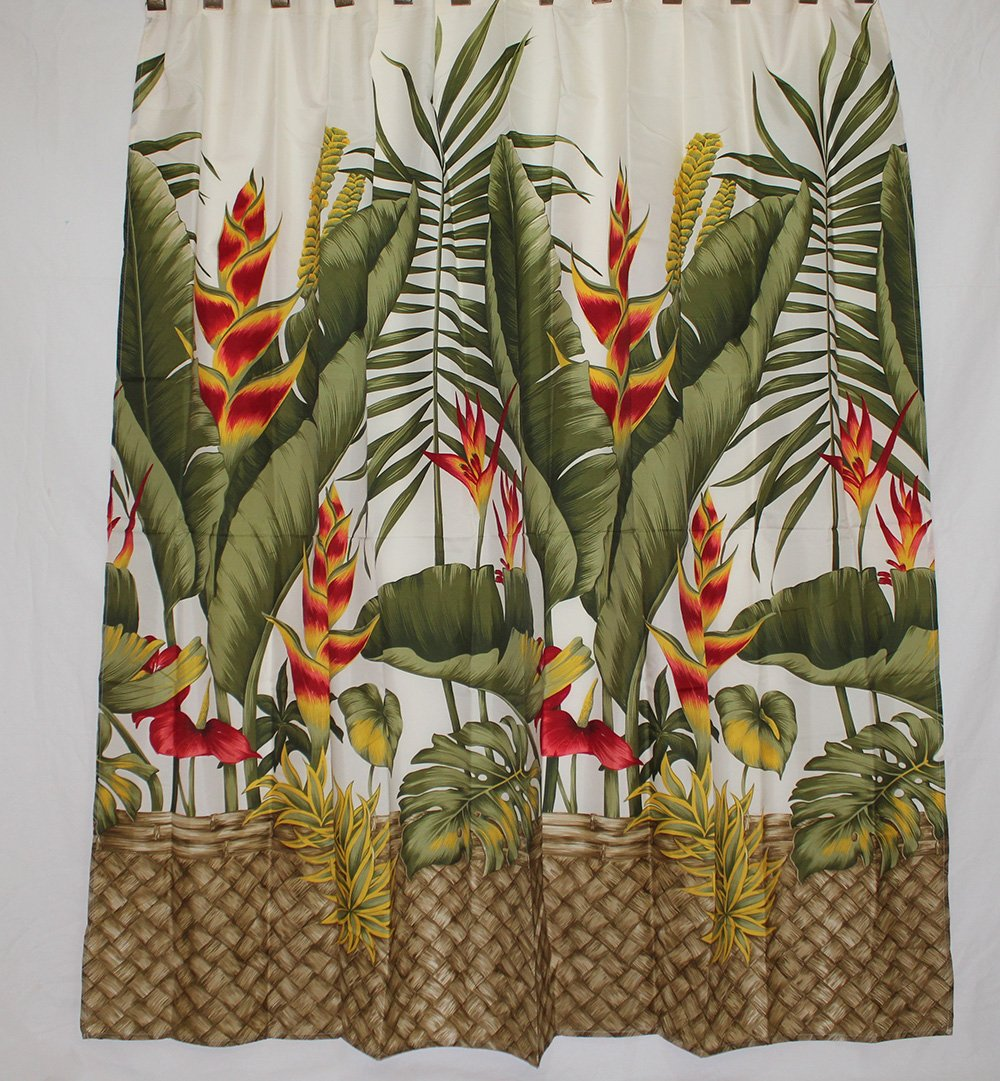 Amazon Hawaii Theme 100 Polyester Fabric Shower Curtain Yellow Heliconia Flower Home Kitchen