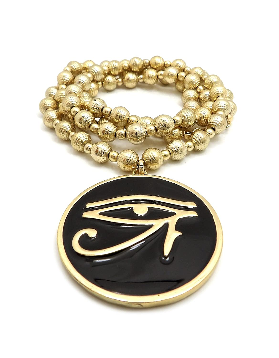 Eye of Heru Pendant 8mm 30 CCB Bead Necklace in Gold Tone Anubis Fist in Africa