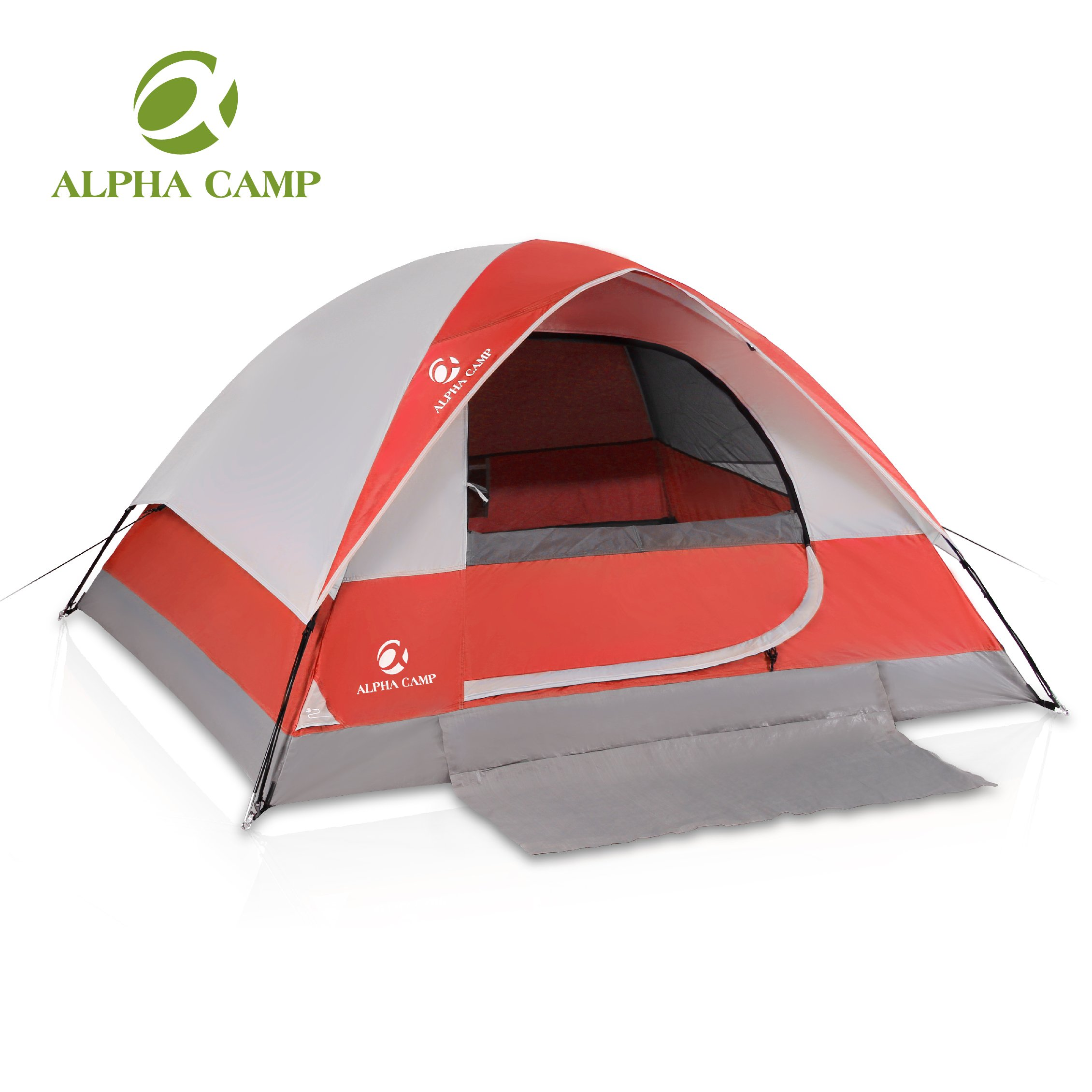 ALPHA CAMP 4 Person Camping Tent - 7' x 9' Red by ALPHA CAMP