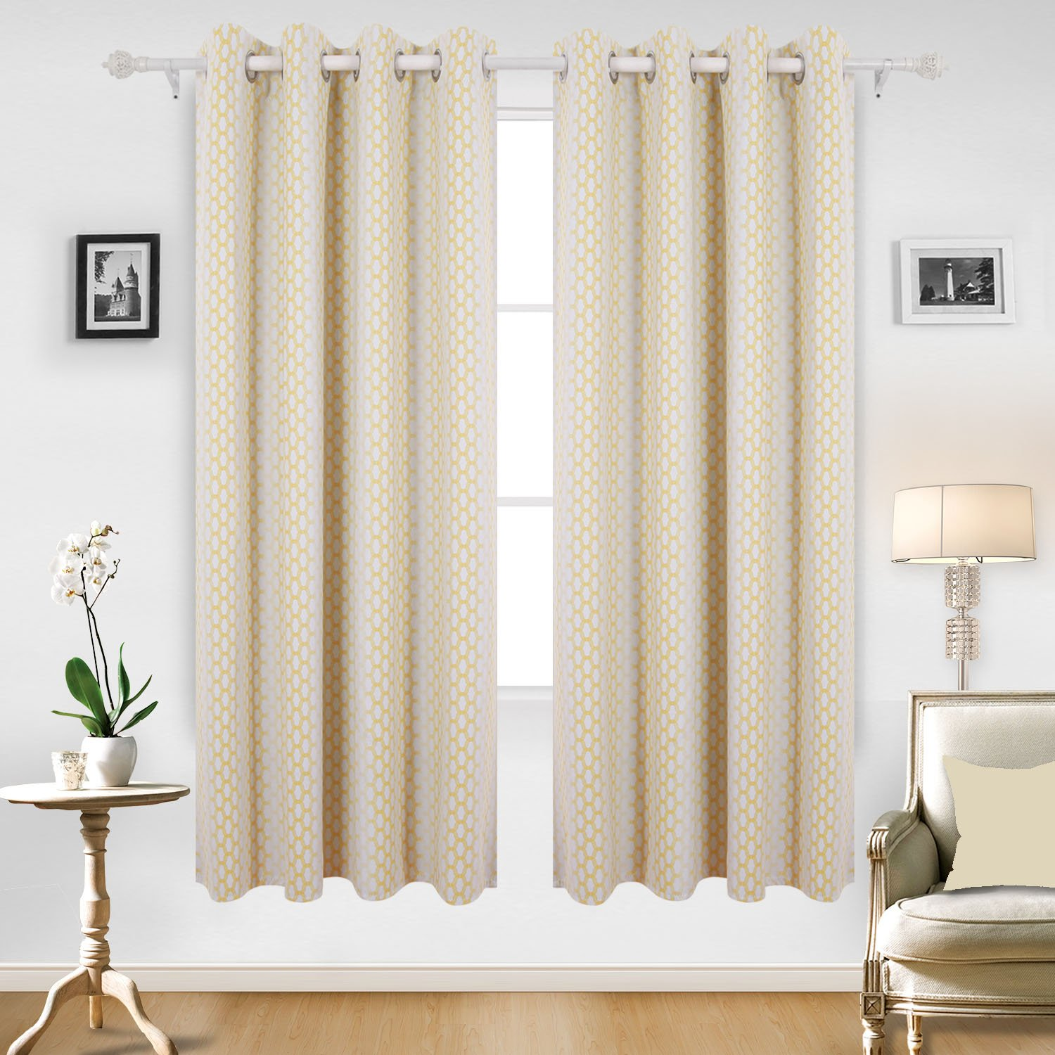 Moroccan Print Thermal Insulated Bedroom Window Blackout Curtain Yellow