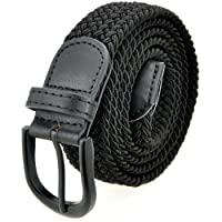 Stretch Braided Belt Elastic Braided Belt with Pin Oval Solid Black Buckle and Leather Loop End Tip for Men/Women/Junior