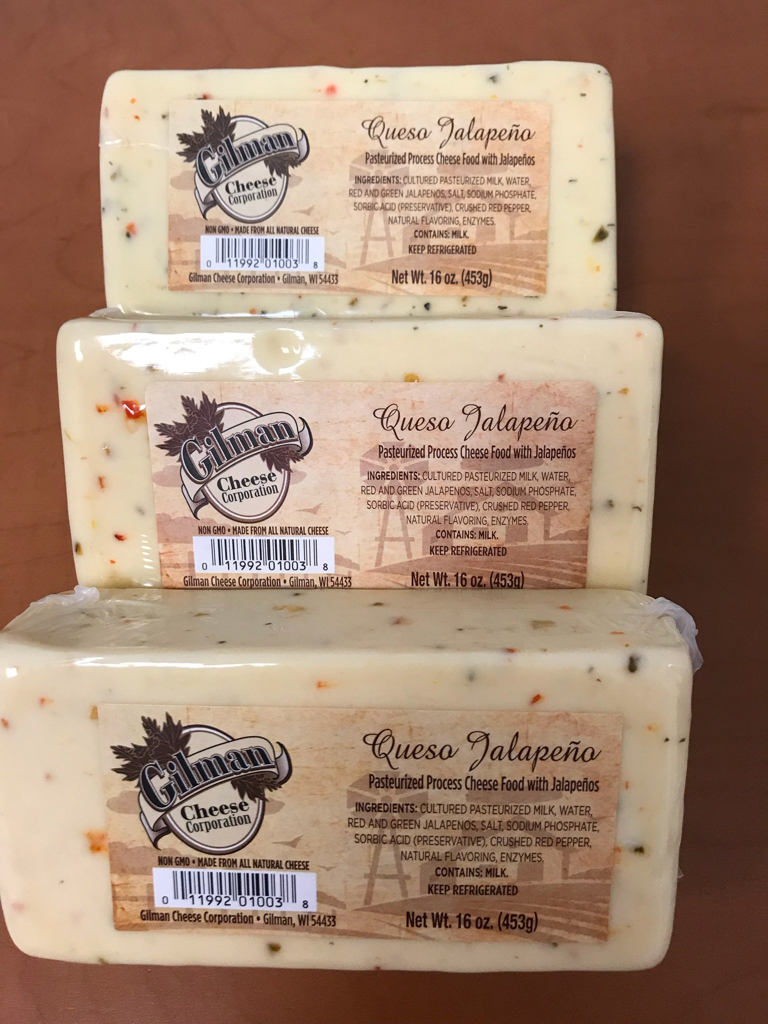 Gilman Queso Jalapeno Cheese Block 16oz (3 lbs total)
