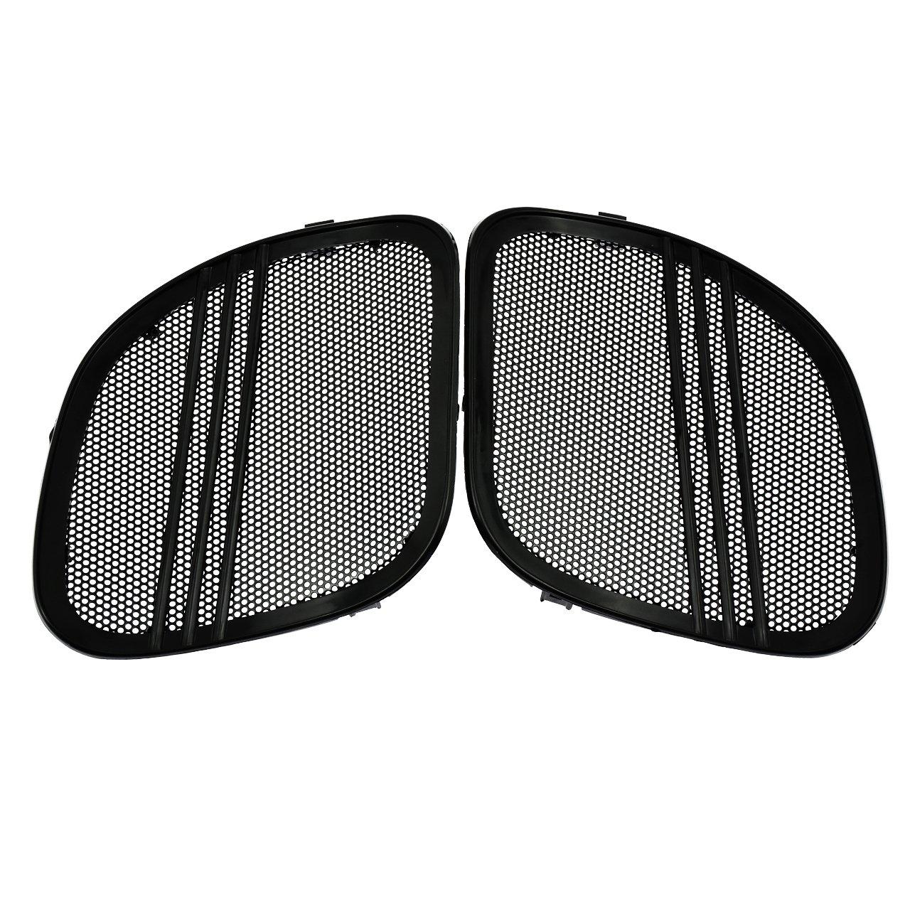 Rebacker Motorbike Tri-Line Speaker Grills Cover Trim Mesh for Harley Road Glide FLTRX 2015 2016 2017 2018,Chrome