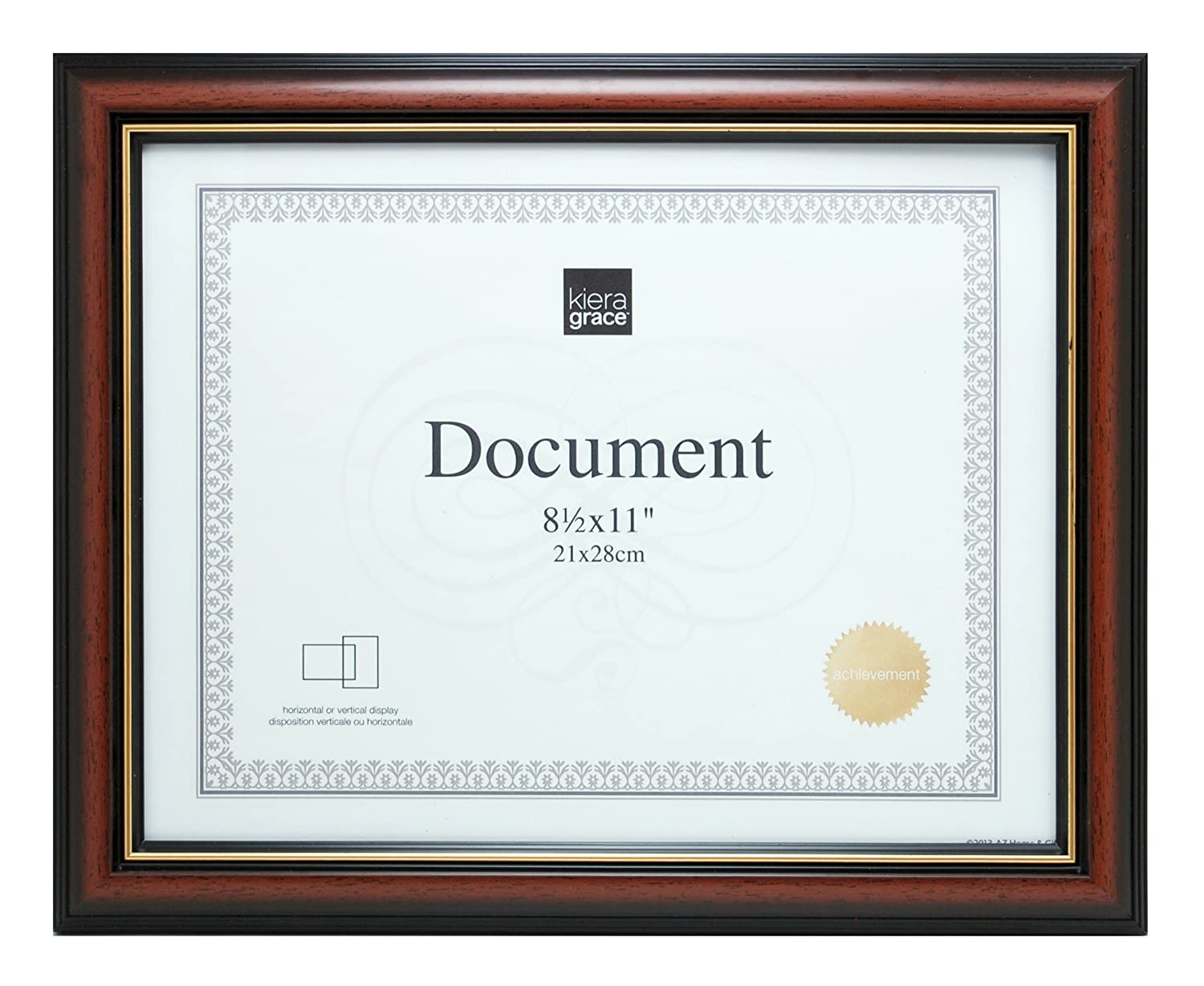 Kiera Grace Kylie Document Frame, 8.5 by 11 Inch, Brown with Gold Lining PH43830-0