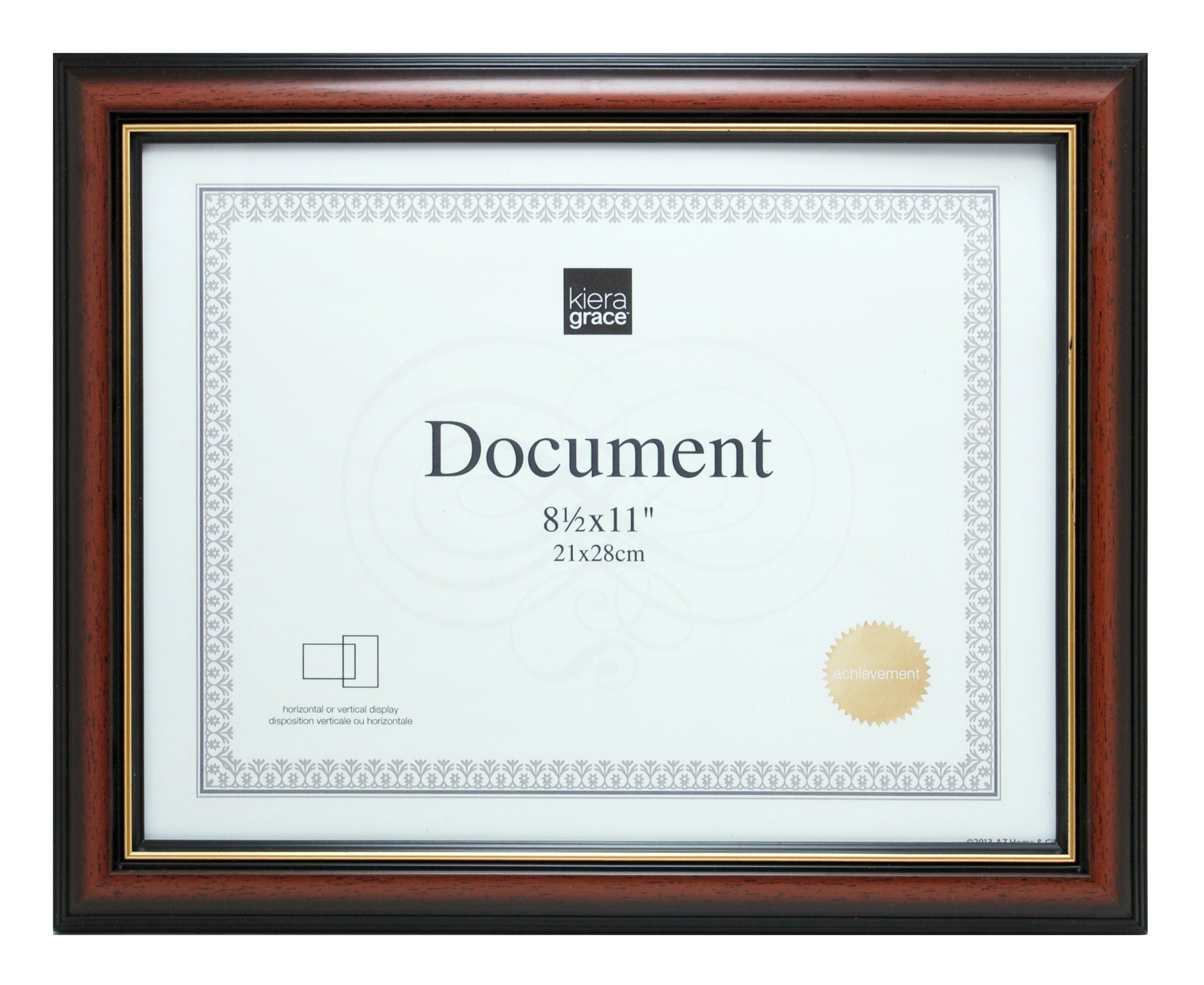 kieragrace Kylie Document Frame, Holds 8.5-Inch by 11-Inch Documents, Brown with Gold Line by kieragrace