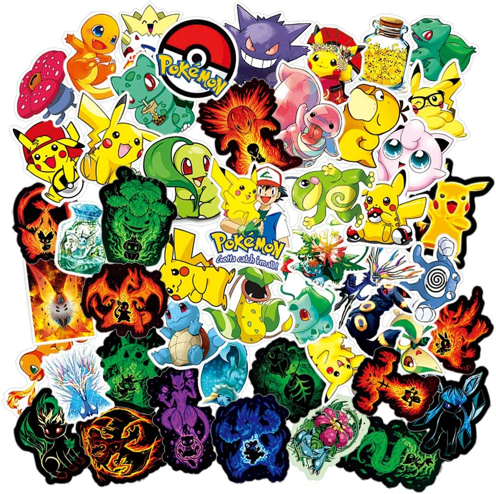 50PCS Pokemon Stickers for Water Bottles,Waterproof Laptop Stickers Cute Anime Stickers for iPhone MacBook Water Bottle