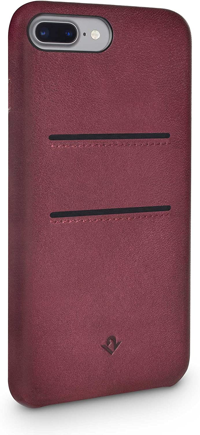 Twelve South Relaxed Leather Case for iPhone 8 Plus/ 7 Plus/ 6 Plus | Hand Burnished Leather Wallet Shell (marsala)