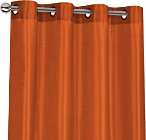 Regal Home Collections 2 Pack Semi Sheer Faux Silk Grommet Curtains - Assorted Colors (Spice)