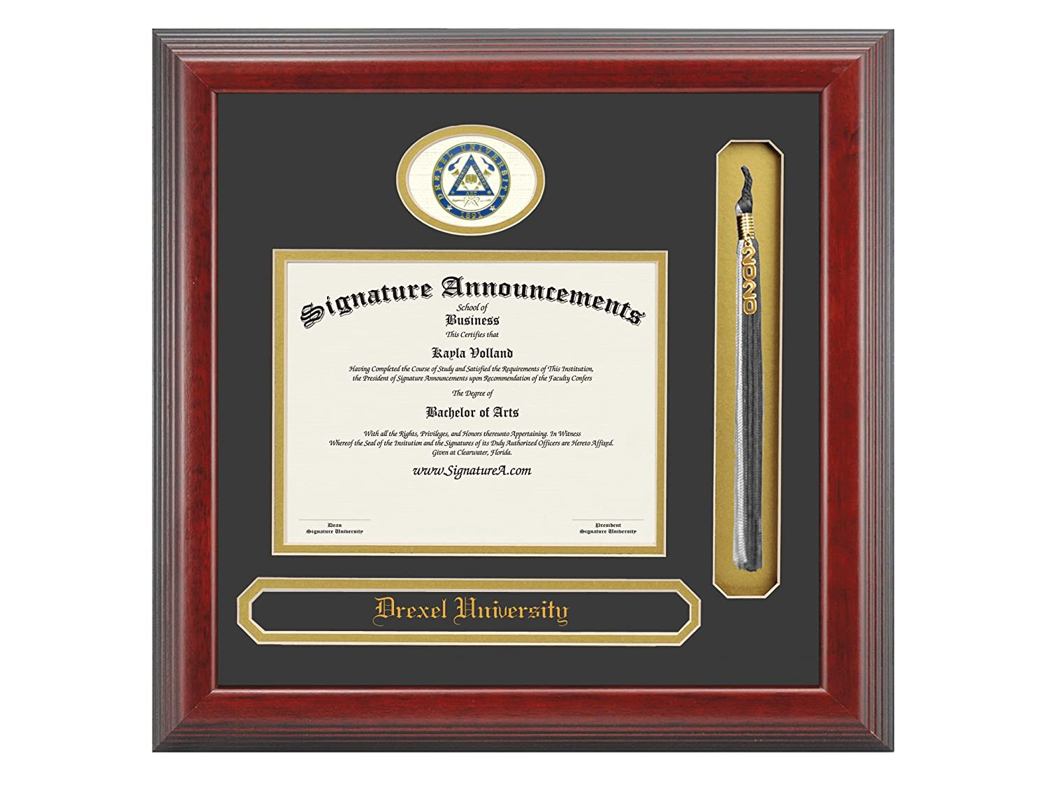 Sculpted Foil Seal Cherry Name /& Tassel Graduation Diploma Frame 20 x 20 Signature Announcements Drexel-University Undergraduate