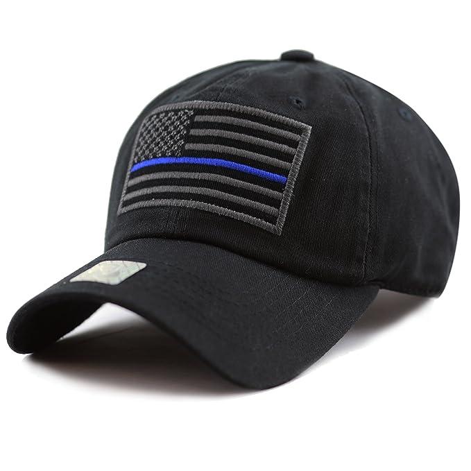 9c3efd541b12d THE HAT DEPOT Low Profile Tactical Operator USA Flag Blue Line Buckle  Cotton Cap (Black