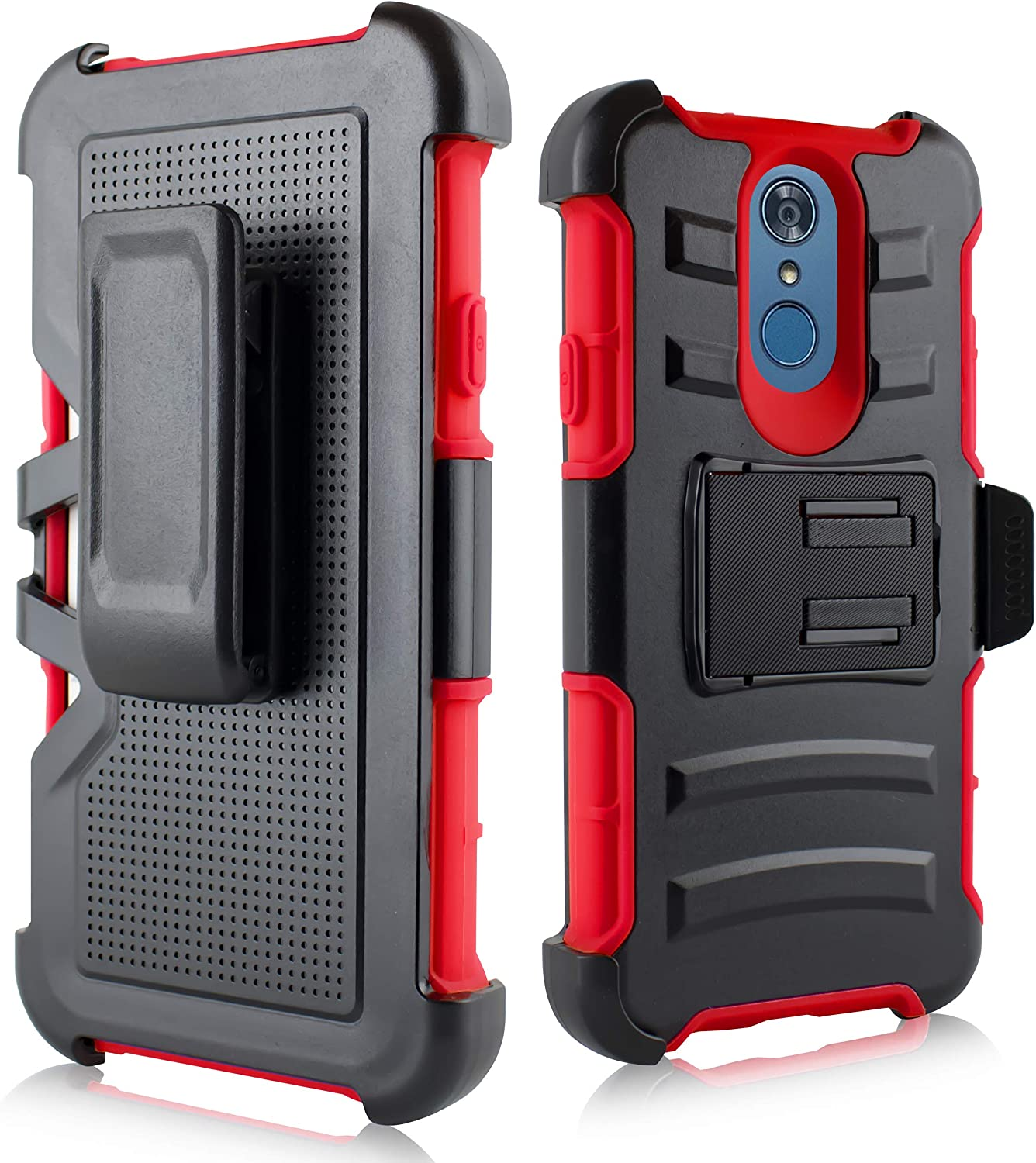 LG Q7 Case, LG Q7 Plus Case, LG Q7 Alpha Case, Heavy Duty Shockproof Dual Layer Protection Case w/Belt Clip and Kickstand for LG Q7 Plus 64gb T 5 Mobile Unlocked (Red)