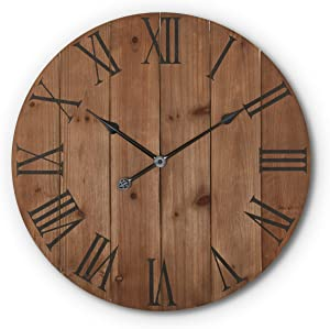 Large Rustic Wooden Wall Clock - 24 Inch - Farmhouse - Decor Kitchen/Bedroom/AirBnB Decor-Battery Operated - Metal Hands Roman Numerals - Silent Ticking - Oversized Clock - Decorative - Real Wood