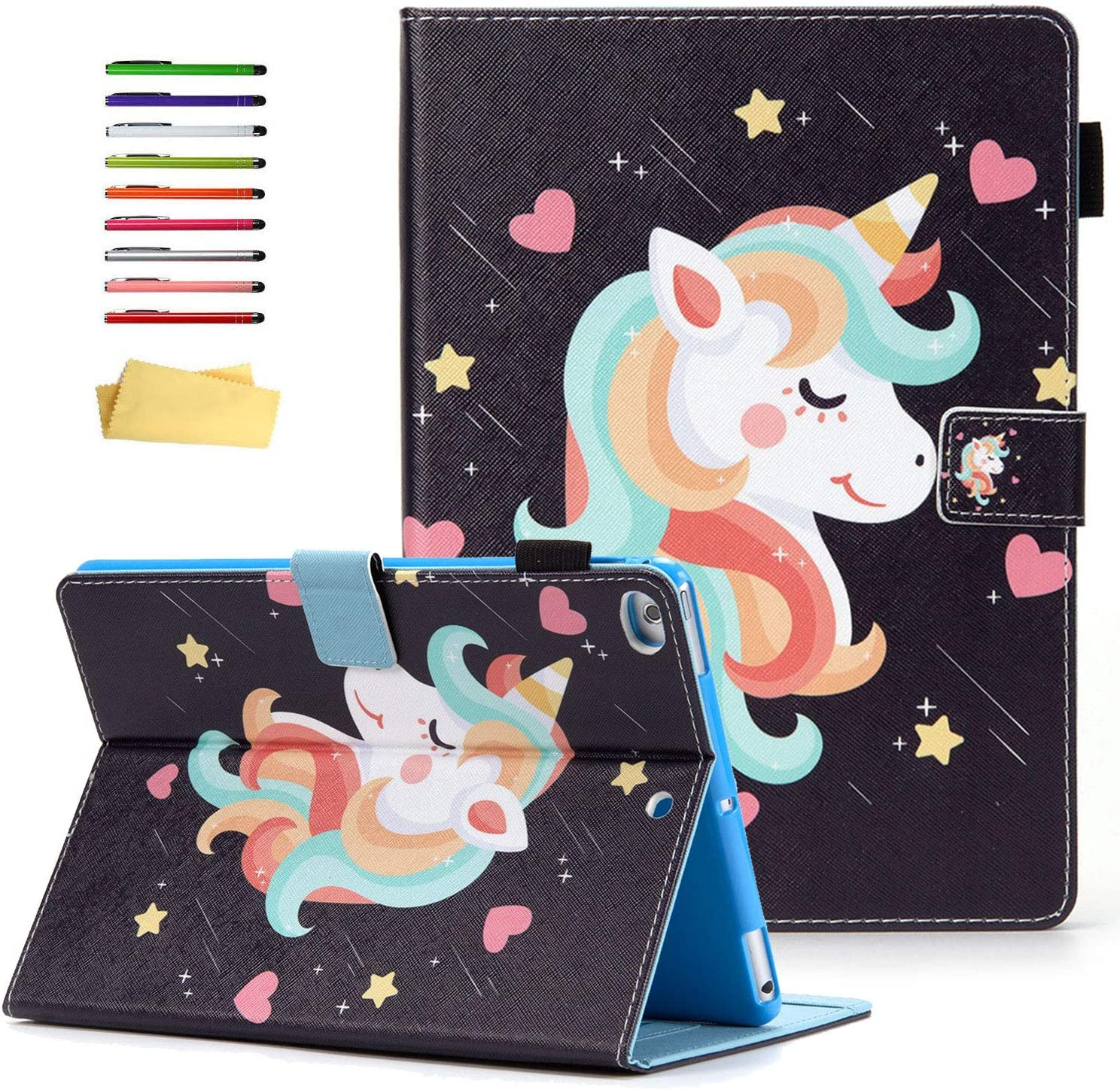 UUcovers iPad 9.7 inch 2018 2017 Case iPad 6th/5th Generation, iPad Air 1/Air 2 Cover with Pencil Holder Smart Folio Stand PU Leather TPU Magnetic Card Pocket Wallet [Auto Sleep/Wake], Unicorn Star