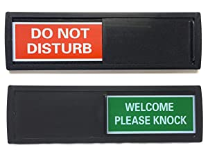 Black Do Not Disturb Sign | SHUTTER CHANGES WHEN YOU PUSH IT | For Home, Offices,Hotels, Hospitals (Don't Disturb, Welcome Signs) Also includes double sided tape mounting.
