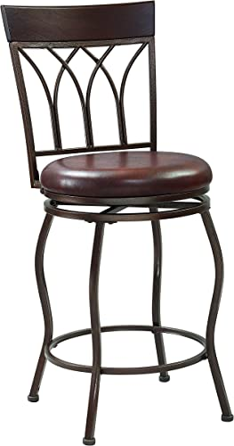 Pulaski 360 Swivel, Extending Legs Arched Back Metal Bar Counter Stool, 24 to 30 H, Brown