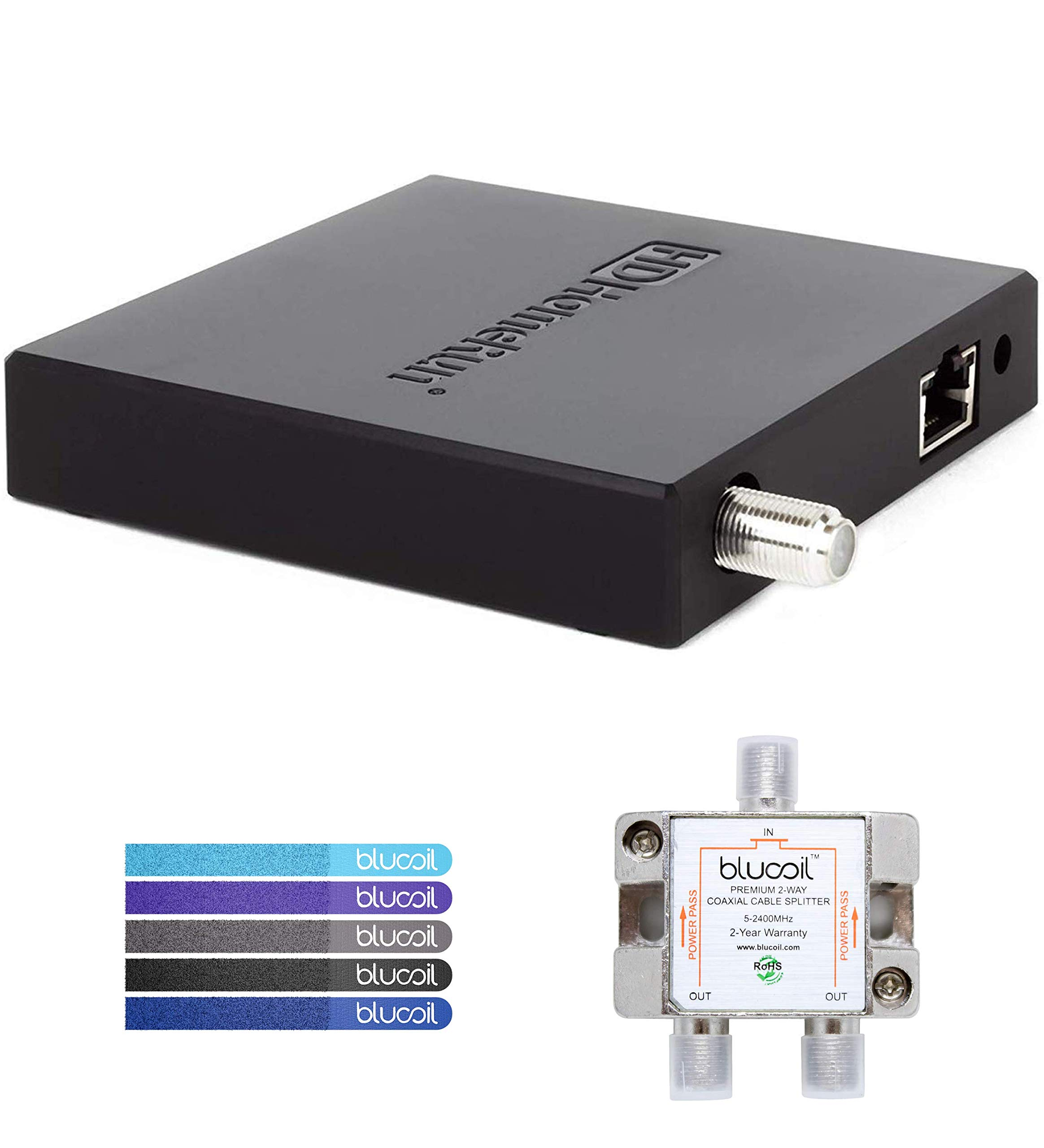 SiliconDust HDHomeRun Connect Duo HDHR5-2US Tuner (Renewed) Bundle with Blucoil 2-Way TV Coaxial Cable Splitter and 5-Pack of Reusable Cable Ties by blucoil (Image #1)