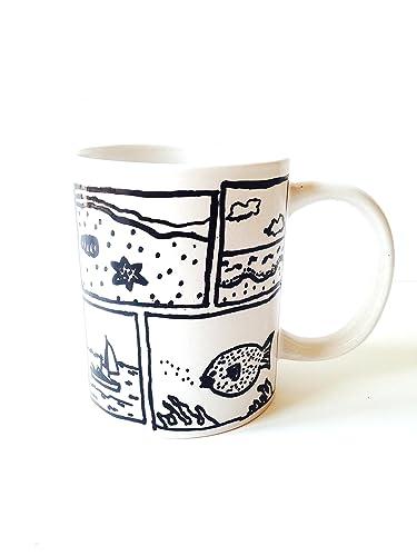 Mug At Dessin Sea Customisé Noir Minimaliste Et Blanc Day The thrCdsxQ