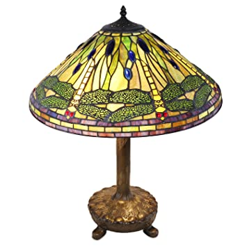 Green And Yellow Dragonfly Tiffany Style Table Lamp Amazon Com