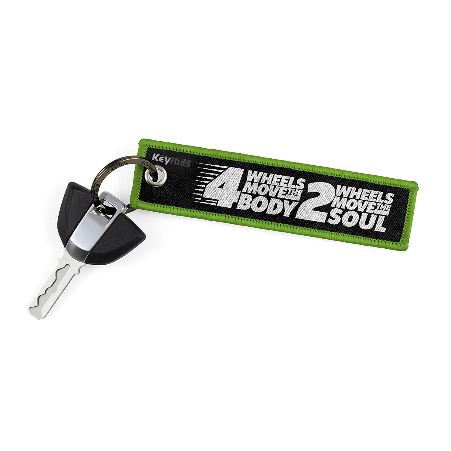 4 Wheels Move The Body, 2 Wheels Move The Soul Premium Quality Key Tag for Motorcycle Scooter ATV UTV KEYTAILS Keychains