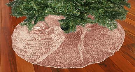 ShinyBeauty Xmas Sequin Tree Skirt 21Inch Blush Handmade Christmas
