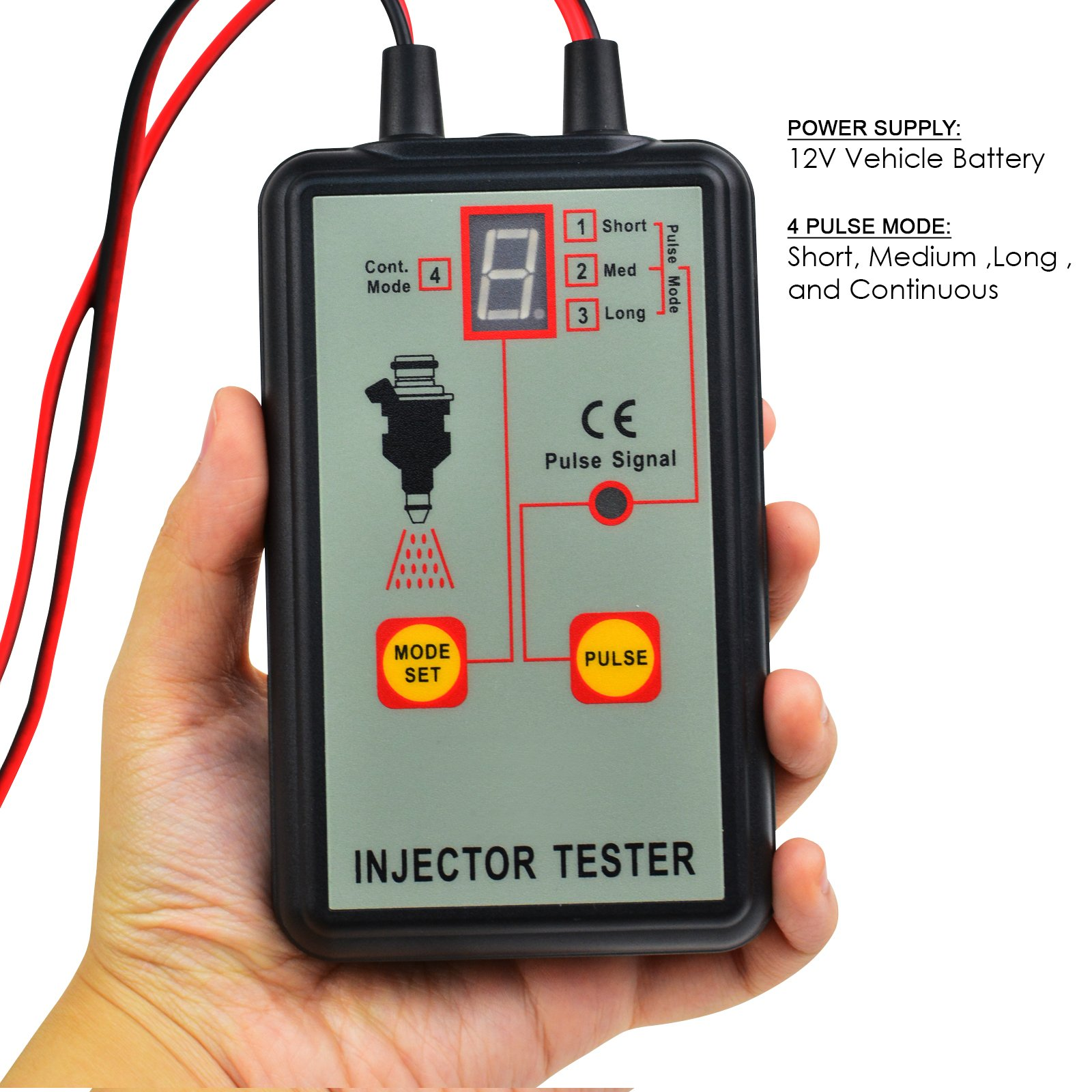 Automotive Fuel Injector Tester, 12V 4 Pulse Modes, Handheld Car Vehicle Fuel Pressure System Diagnostic Scan Testing Tool Gauge, Individual Test Stuck/Leaking/Burnt-out Problem by Gain Express (Image #4)