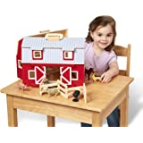 Melissa & Doug 3700 Fold and Go Wooden Barn with 7 Animal Play Figures