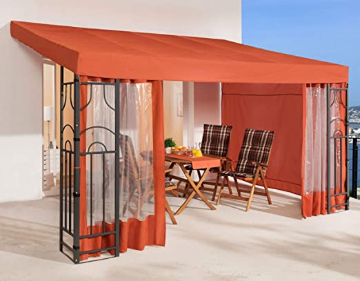 QUICK STAR - Pérgola para Pared Lateral (3 Laterales), Color marrón: Amazon.es: Jardín
