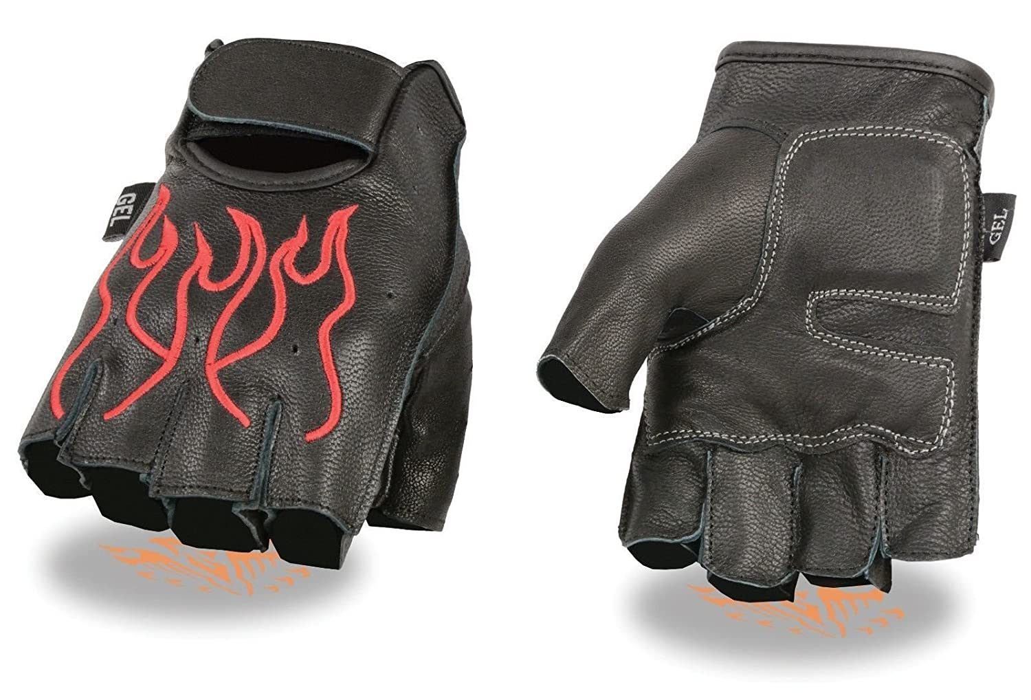 MENS MOTORCYCLE BLACK RED FLAMES DURABLE NEW BIKE GLOVES LEATHER FINGERLESS
