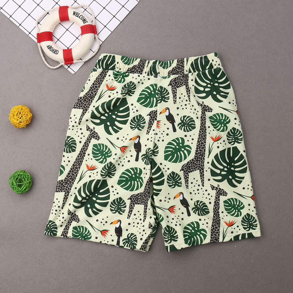 Family Matching Animal Tropical Leaf Print Swimwear Mom/&Me 2Pcs Ruffles Tops Bottoms Swimsuit Dad/&Me Swim Trunks