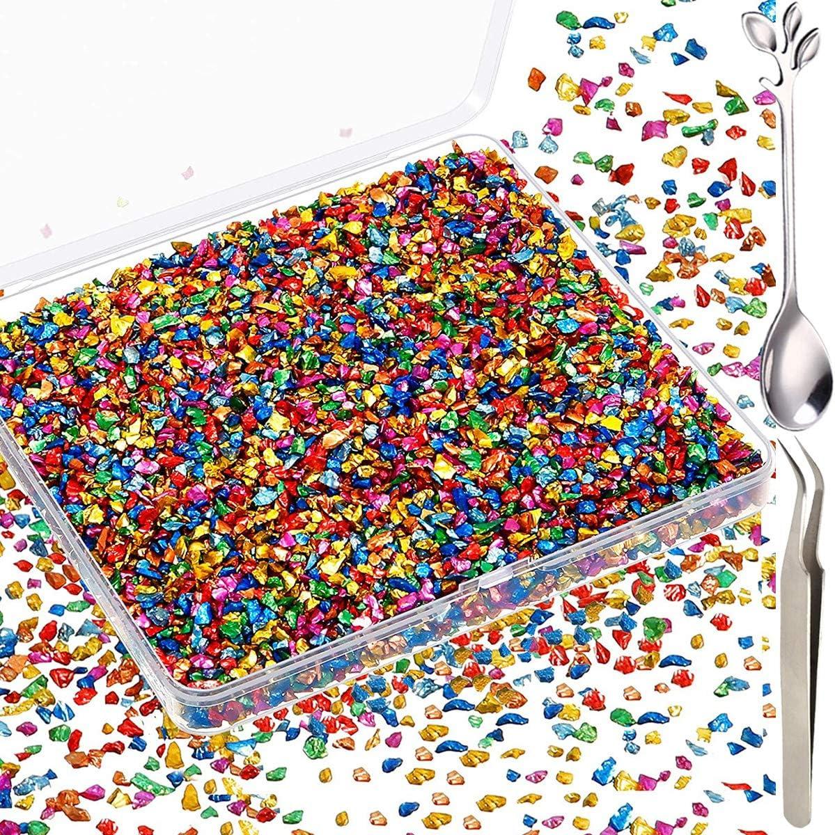 Brillo Multicolor 100g con Cuchara Decoraci/ón Pinzas para Molde de Resina Epoxi mini decoraciones Artesan/ía de U/ñas 0.5-5.5 mm Acmerota Vidrio triturado para resina Irregular Met/álico