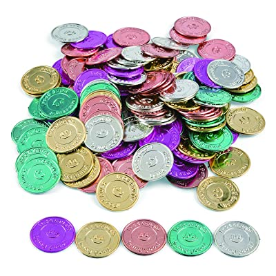 "Fun Express ""I Was Caught Being Good!"" Plastic Coins- Bulk (144 Piece) -Classroom Incentives-Teacher Supplies: Toys & Games"