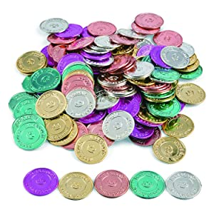 "Fun Express ""I Was Caught Being Good!"" Plastic Coins- Bulk (144 Piece) -Classroom Incentives-Teacher Supplies"