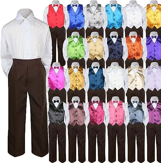 4pc Baby Toddler Kid Boy Party Suit Brown Pants Shirt Vest Bow tie Set 5-7
