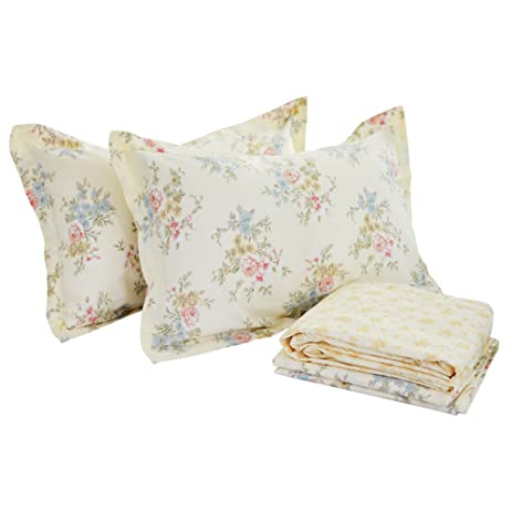 FADFAY 4 Piece Vintage Floral Print Bedding Set,Elegant French Country  Style Bed Sheet