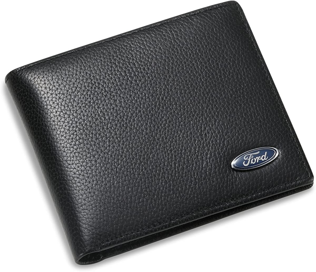 Ford Bifold Wallet with 3 Credit Card Slots and ID Window - Genuine Leather
