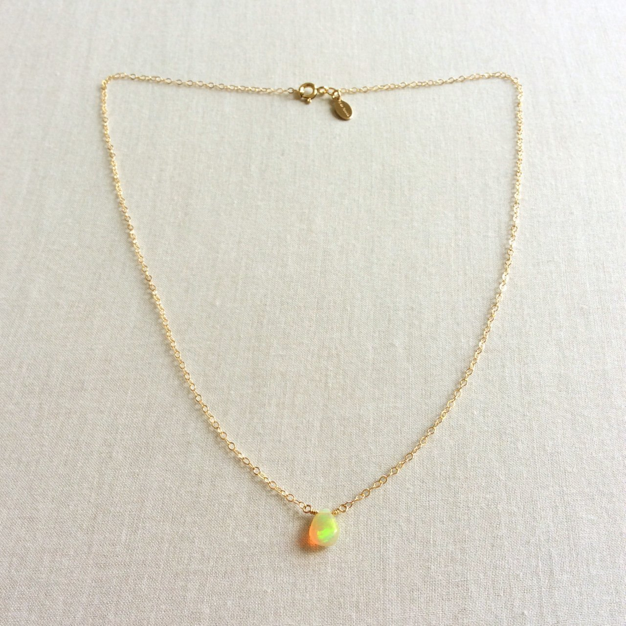8 carats Genuine Fire Opal on SOLID 14K gold  16 inch necklace