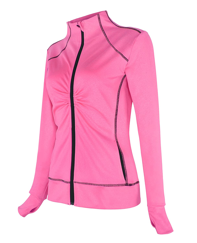 Cityoung Women's Workout Athletic Track Jacket Full Zip Shirt Running Sportswear Yoga Sweatshirts 0412hf_wt01-pk-m-US2