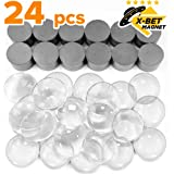 Ceramic Magnets for Crafts with Transparent Glass Cabochons - Clear Glass Dome 1 inch (25mm) and Ferrite Magnets .709 inch (18mm) Round Disc - Small Refrigerator Magnets and Cabochons Tiles for Fridge